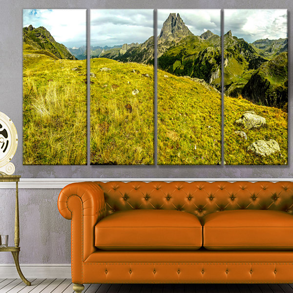 Designart Bright Green Mountain Panorama LandscapeCanvas Art Print - 4 Panels