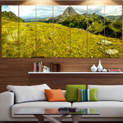 Bright Green Mountain Panorama Landscape Canvas Art Print - 5 Panels