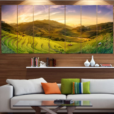 Designart Rice Fields On Terraced Panorama Landscape Canvas Art Print - 4 Panels