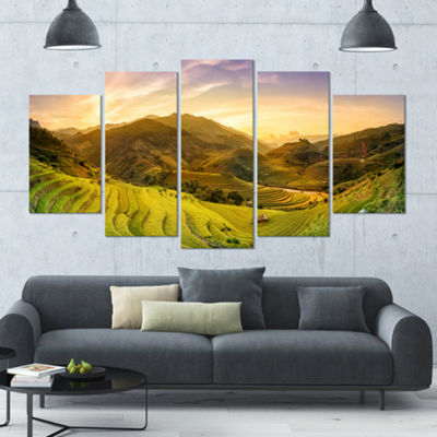 Designart Rice Fields On Terraced Panorama Landscape Large Canvas Art Print - 5 Panels