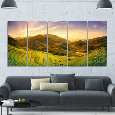 Designart Rice Fields On Terraced Panorama Landscape Canvas Art Print - 5 Panels