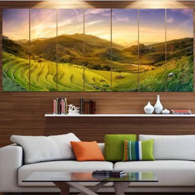 Designart Rice Fields On Terraced Panorama Landscape Canvas Art Print - 6 Panels