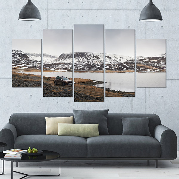 Design Art Suv Road Trip Adventure Landscape LargeCanvas Art Print - 5 Panels