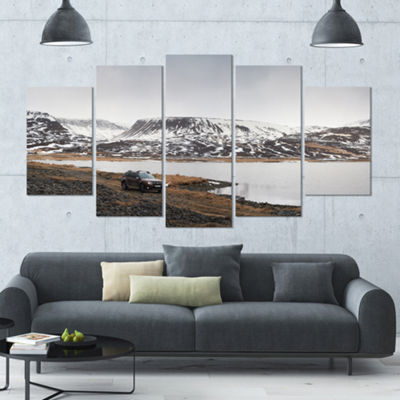 Designart Suv Road Trip Adventure Landscape LargeCanvas Art Print - 5 Panels