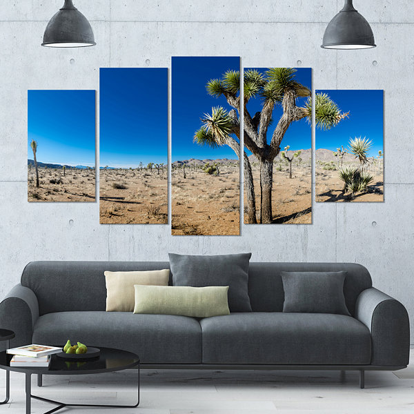 Designart Joshua Tree In Open Desert Landscape Large Canvas Art Print - 5 Panels