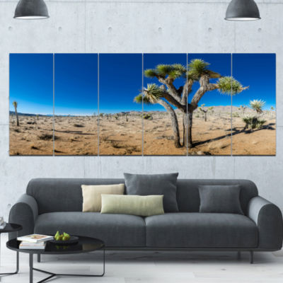 Joshua Tree In Open Desert Landscape Canvas Art Print - 6 Panels