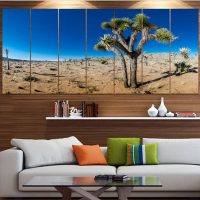 Joshua Tree In Open Desert Landscape Canvas Art Print - 7 Panels