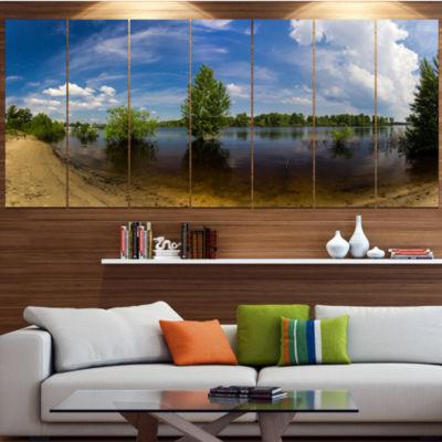 Designart Small Flood Panorama Landscape Large Canvas Art Print - 5 Panels