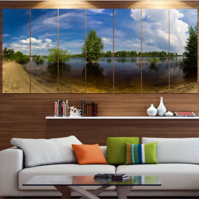 Designart Small Flood Panorama Landscape Canvas Art Print -6 Panels