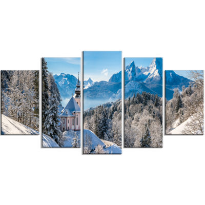 Designart Winter In The Bavarian Alps Landscape Large Canvas Art Print - 5 Panels
