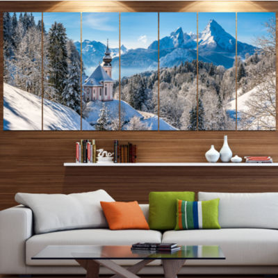 Winter In The Bavarian Alps Landscape Large CanvasArt Print - 5 Panels