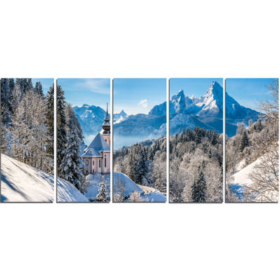 Winter In The Bavarian Alps Landscape Canvas Art Print - 5 Panels