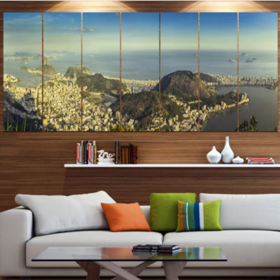 Designart Rio De Janeiro With Copacabana LandscapeLarge Canvas Art Print - 5 Panels