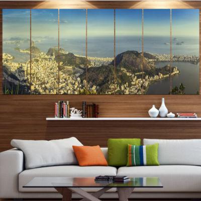 Designart Rio De Janeiro With Copacabana LandscapeCanvas Art Print - 5 Panels