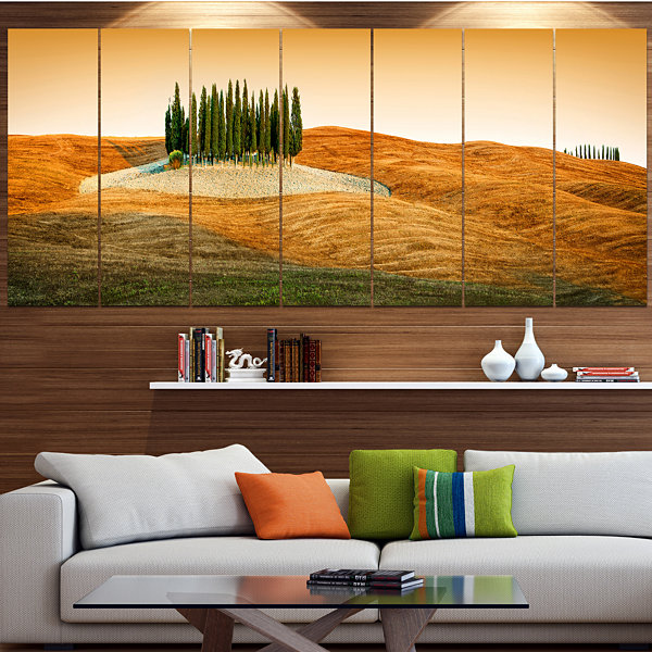 Designart Cypress Grove Panorama Landscape CanvasArt Print- 4 Panels