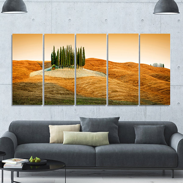 Designart Cypress Grove Panorama Landscape CanvasArt Print- 5 Panels