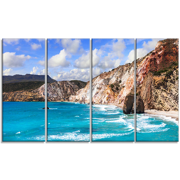 Designart Greek Islands Scenic Beaches LandscapeCanvas Art Print - 4 Panels