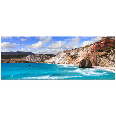 Designart Greek Islands Scenic Beaches LandscapeCanvas Art Print - 6 Panels