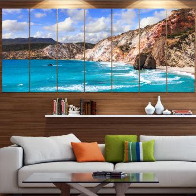 Designart Greek Islands Scenic Beaches LandscapeCanvas Art Print - 7 Panels