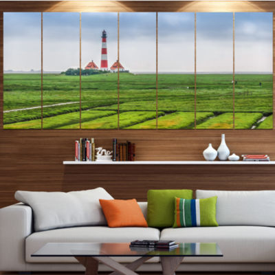 Westerheversand Lighthouse Panorama Landscape Canvas Art Print - 4 Panels