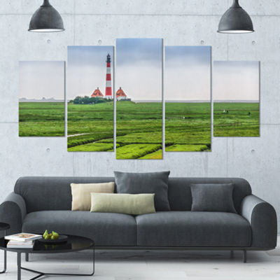 Designart Westerheversand Lighthouse Panorama Landscape Large Canvas Art Print - 5 Panels