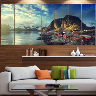 Designart Fishing Hut At Spring Sunset LandscapeCanvas Art Print - 4 Panels