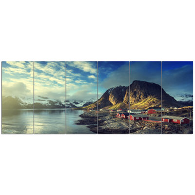 Designart Fishing Hut At Spring Sunset LandscapeCanvas Art Print - 6 Panels