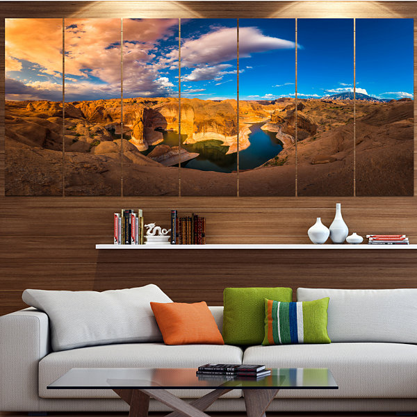 Designart Reflection Canyon Lake Powell LandscapeCanvas Art Print - 4 Panels