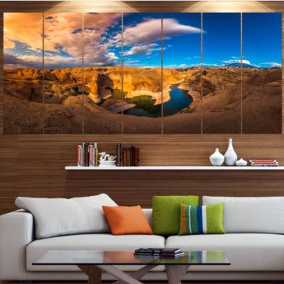 Designart Reflection Canyon Lake Powell LandscapeCanvas Art Print - 7 Panels