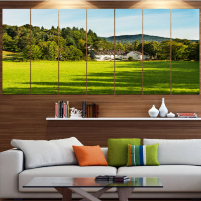 Alone Farmhouse In Meadow Landscape Canvas Art Print - 4 Panels