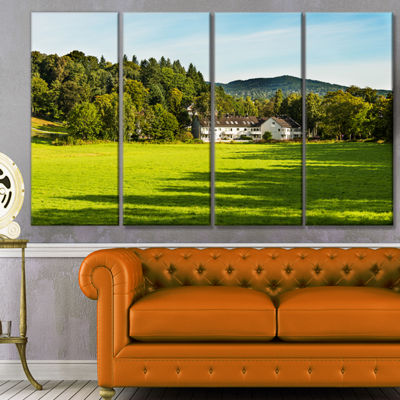 Designart Alone Farmhouse In Meadow Landscape Canvas Art Print - 4 Panels