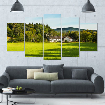 Alone Farmhouse In Meadow Landscape Large Canvas Art Print - 5 Panels