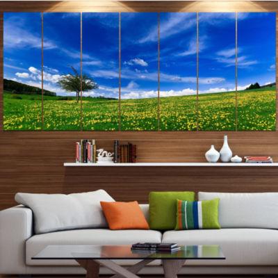 Designart Spring Landscape Green Fields LandscapeCanvas Art Print - 5 Panels