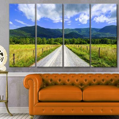 Sparks Lane In Cades Cove Landscape Canvas Art Print - 4 Panels