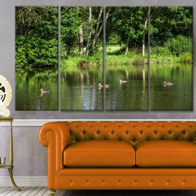 Bushes And Trees In River Bank Landscape Canvas Art Print - 4 Panels