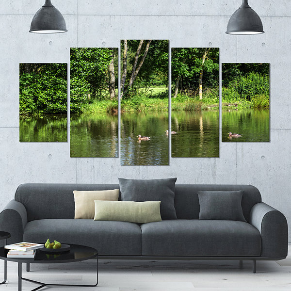 Designart Bushes And Trees In River Bank LandscapeLarge Canvas Art Print - 5 Panels