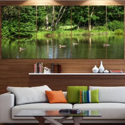 Designart Bushes And Trees In River Bank LandscapeCanvas Art Print - 6 Panels