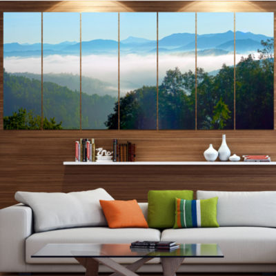 Designart Morning In Blue Ridge Parkway LandscapeCanvas Art Print - 7 Panels
