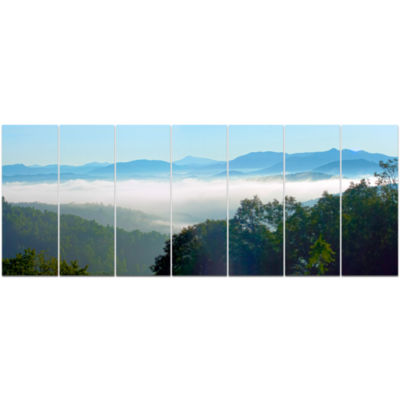 Morning In Blue Ridge Parkway Landscape Canvas ArtPrint - 7 Panels