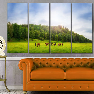 Designart Cows On Field Panorama Landscape CanvasArt Print- 4 Panels