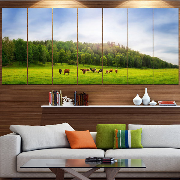 Design Art Cows On Field Panorama Landscape CanvasArt Print- 7 Panels