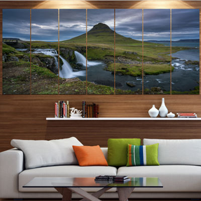 Designart Beautiful Kirkjufellsfoss Waterfall Landscape Canvas Art Print - 5 Panels