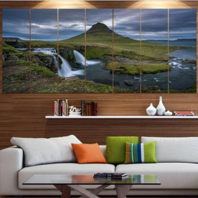 Designart Beautiful Kirkjufellsfoss Waterfall Landscape Canvas Art Print - 7 Panels