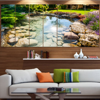 Design Art Stream In Rocky Landscape Landscape Large Canvas Art Print - 5 Panels