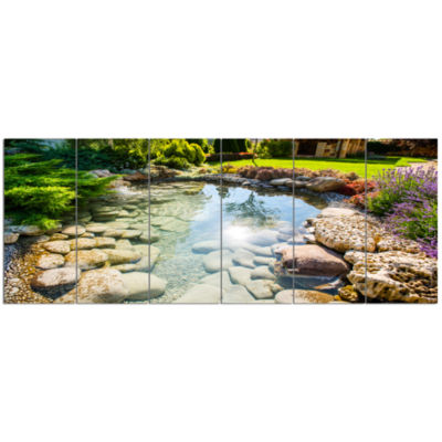 Stream In Rocky Landscape Landscape Canvas Art Print - 6 Panels