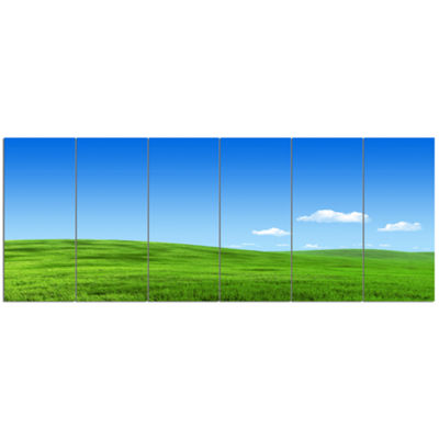 Designart Calm Green Meadow Landscape Canvas ArtPrint - 6 Panels