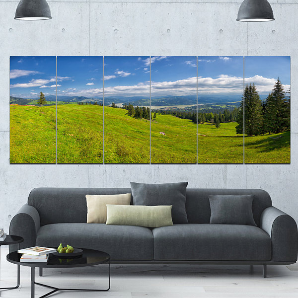 Designart Summer In Ceahlau Mountains Landscape Canvas Art Print - 6 Panels