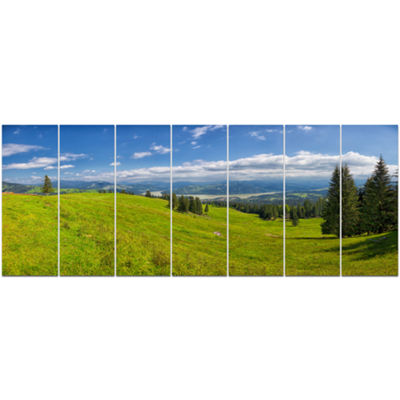 Designart Summer In Ceahlau Mountains Landscape Canvas Art Print - 7 Panels