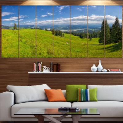 Designart Summer In Ceahlau Mountains Landscape Canvas Art Print - 7 Panels