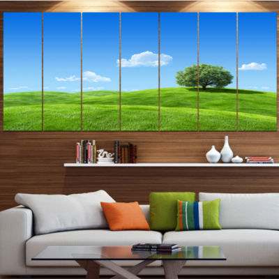Calm Meadow With Single Tree Landscape Canvas ArtPrint - 4 Panels